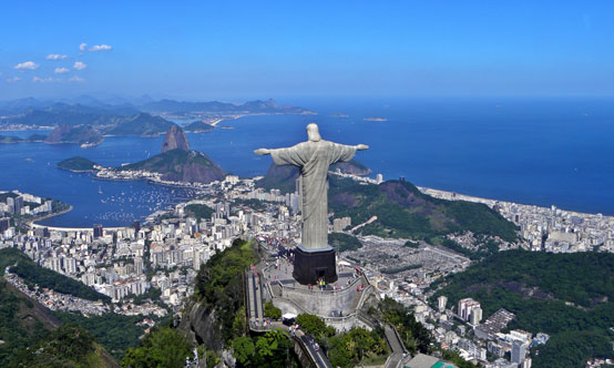 The statue of Christ the Redeemer overlooking Rio de Janeiro, Brazil's most populous city.