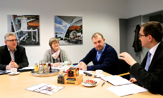From left to right - Thomas Gandt (Managing Director), Inge Teich (Marketing Manager), Peter Herrmann (Sales Manager) and Peter Edwards (Global Cement) in discussion at Venti Oelde's headquarters