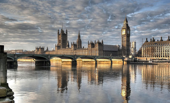 The famous sight of the Palace of Westminster (left) and Elizabeth Tower (right), more commonly known as the Houses of Parliament and Big Ben.
