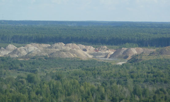 View of the Kalcitas-run limestone and clay quarry that supplies Akmenes Cementas.