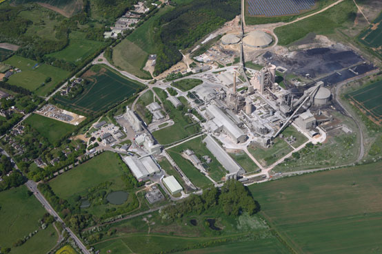 View over the Ketton cement plant in Rutland, UK