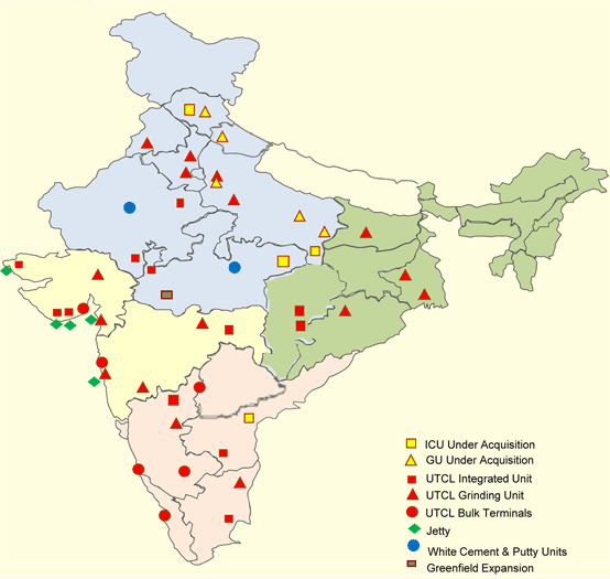 Map 1: UltraTech Cement's plants in India. Source: UltraTech Cement Corporate Dossier, January 2017.